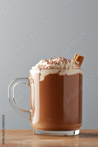 Cup of hot chocolate with whipped cream and cinnamon