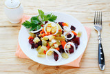 vegetable salad with pickled cucumber