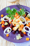 vegetable salad with baked carrots and beets