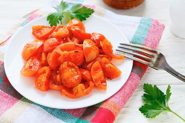 roasted tomato slices