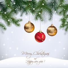 Carte de Noël - Carte de voeux : sapin, boules, neige
