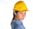 Asian female construction worker with safety hat