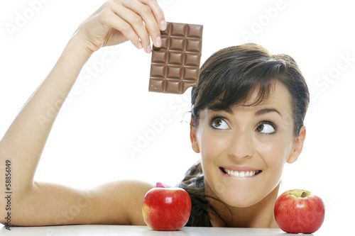 Choosing between chocolate and apple