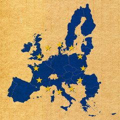 map and flag of European Union on carton paper background