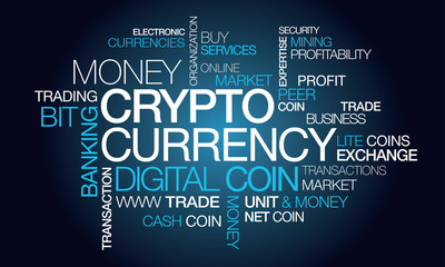 Crypto currency illustration tag cloud digital money coin