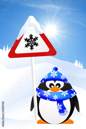 Danger snow sign