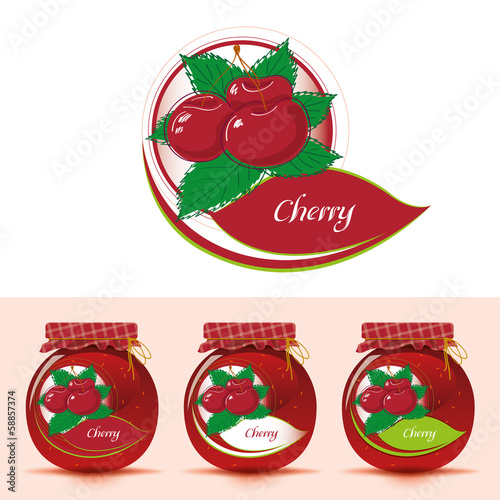 Cherry jam label with jar