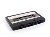 retro cassette tape over a white background