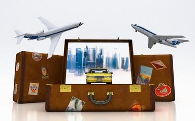 Taxi, città, trasporto, Viaggiare, valigie, agenzia viaggi,3d