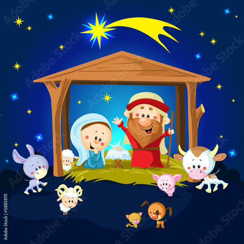 Nativity in Bethlehem with animals
