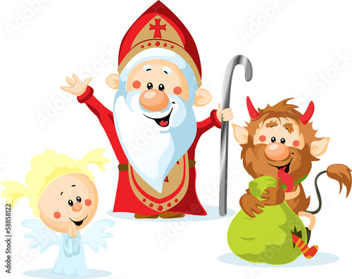 Saint Nicholas, devil and angel - vector