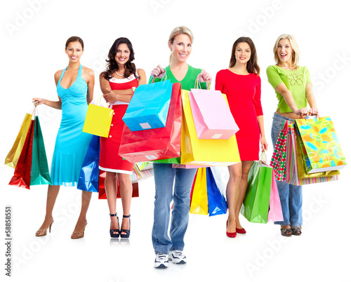 Women with shopping bags.