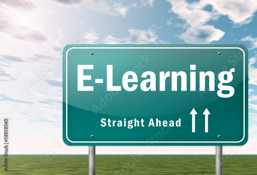 """Highway Signpost """"E-Learning"""""""