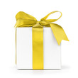 paper gift box wrapped with yellow ribbon