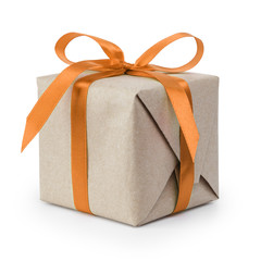 gift box from craft paper with ribbon