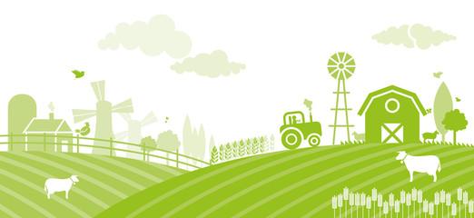 Farm landscape at sunset - Illustration