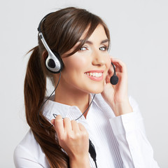 call center smiling operator with phone headset