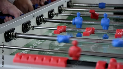 playing foosball