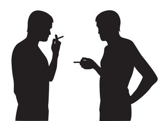 silhouettes of men smoking