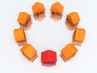 Orange houses and red with reflection. 3d render.