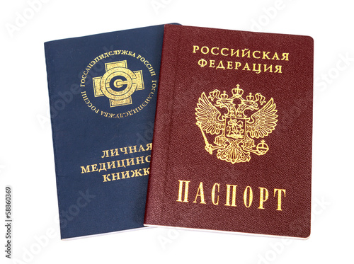 Russian medical book and passport isolated on white background