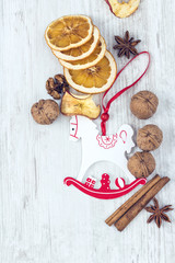 Christmas Ornament and Food Background