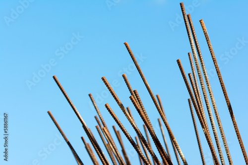 steel rod for construction job and blue sky