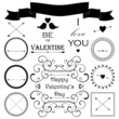 Decorative set of artistic valentin's day elements and signs