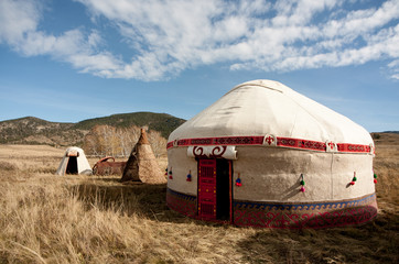 Kazakh yurt in the autumn steppe
