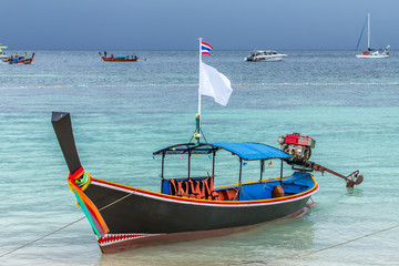 Thailand ocean landscape. Exotic beach view and traditional ship