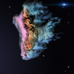 Star field and nebula in deep space