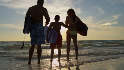 Ethnic Parents Young Son Beach Sport Lifestyle
