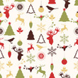 Vector seamless pattern with Christmas and New year's decoration