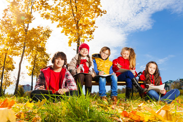 Kids and autumn in the town