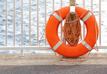 Lifebuoy at a Harbour