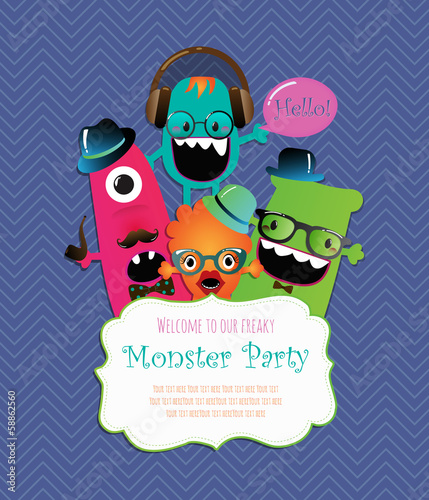 Monster Party Invitation Card Design. Vector Illustration
