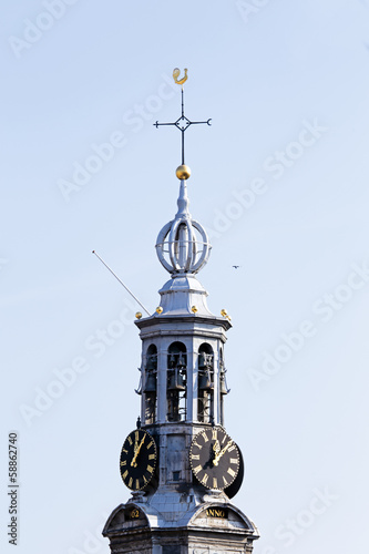 Close up from the Munt tower in Amsterdam the Netherlands