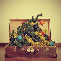 christmas tree in a suitcase