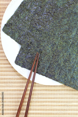 Several strips of dried seaweed sheets