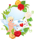 Valentine`s Day illustration with roses, angel and letter. Oval