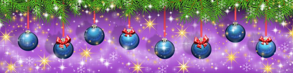 Баннер новогодний с елочными игрушками