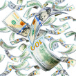 New 100 dollar banknotes falling and spinning isolated on white