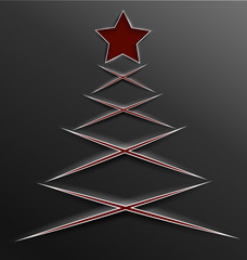 Christmas tree paper cut lines cross