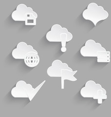 Cloud icon set white plastic save