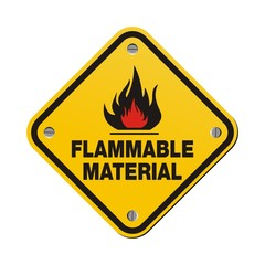 yellow sign - flammable material