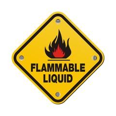 yellow sign - flammable liquid