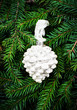 Christmas ornaments on Fir Tree Background. White Christmas Pine