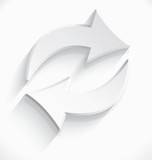 White arrows sink icon 3d