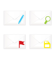 White closed envelopes with flag mark icon set