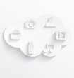 White cloud computing symbols
